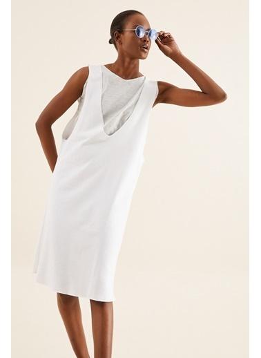 Quincey Çift Katlı Elbise Beyaz